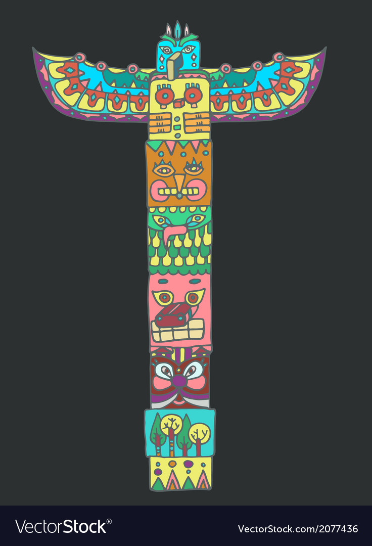 Color Totem pole with animals Royalty Free Vector Image
