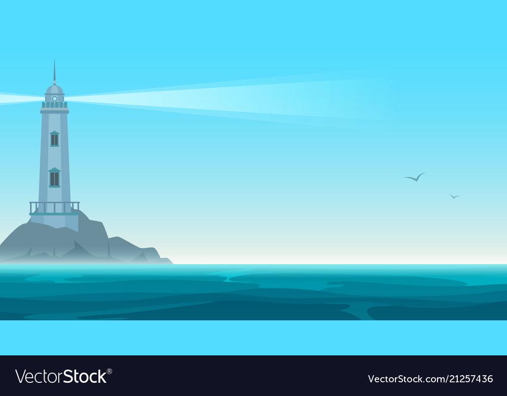Elegant lighthouse on rock island
