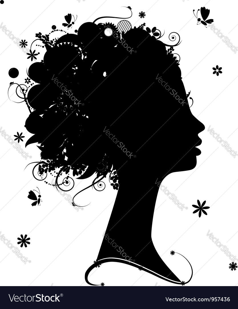 Female profile silhouette floral hairstyle