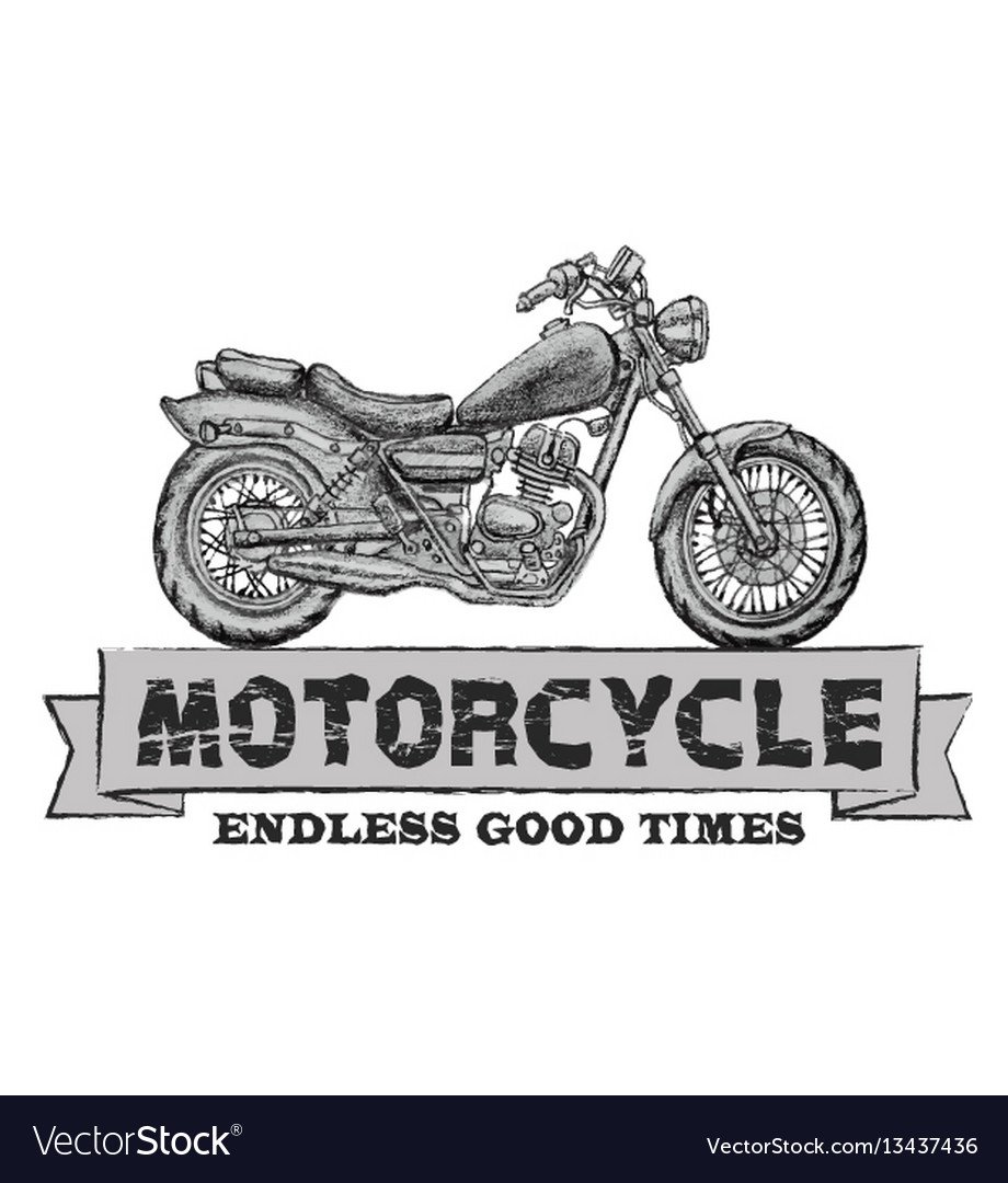 Hand drawn chopper motorcycle quote