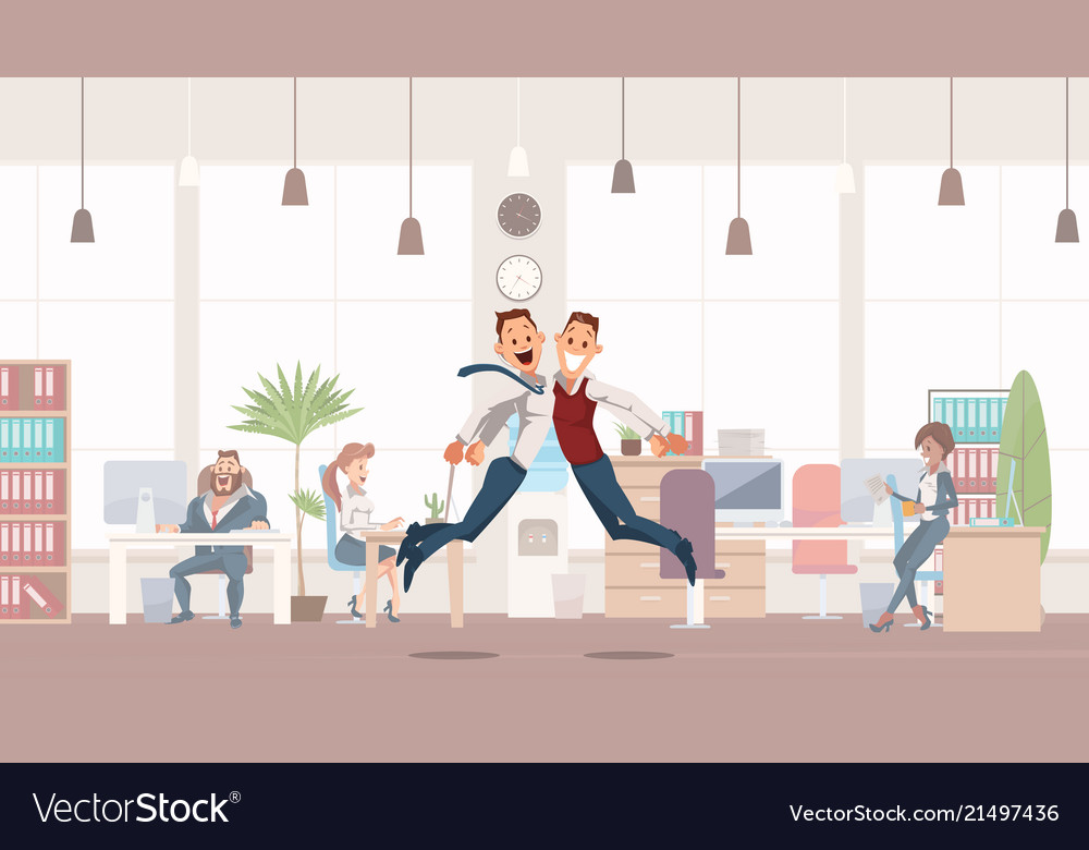 Happy office workers jumping