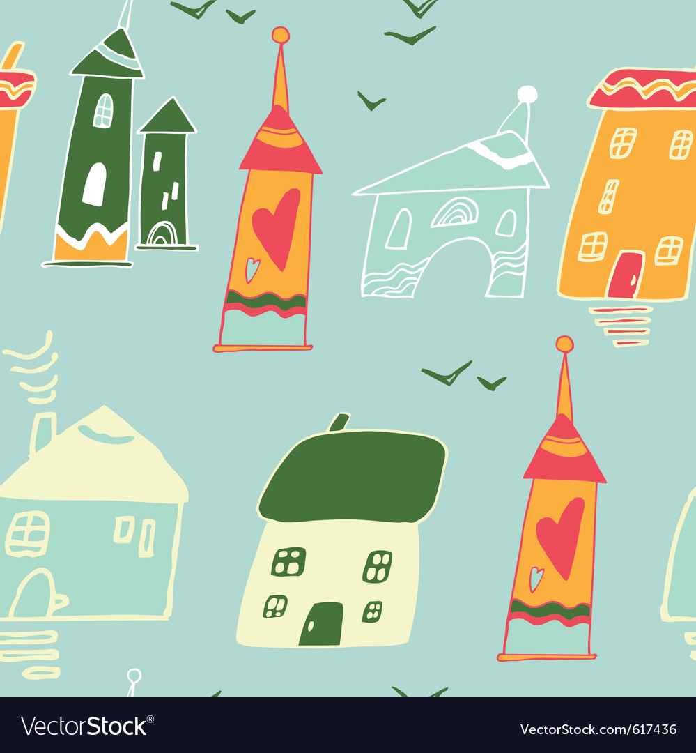Homes and houses pattern vector image