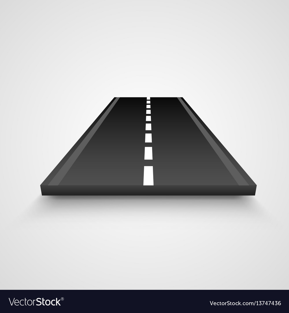 Isolated piece of road on white background