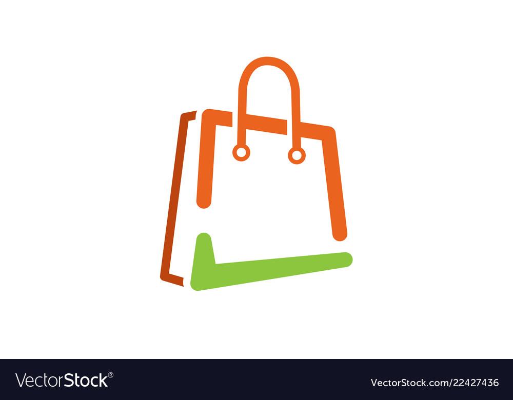 Shop green check bag symbol logo