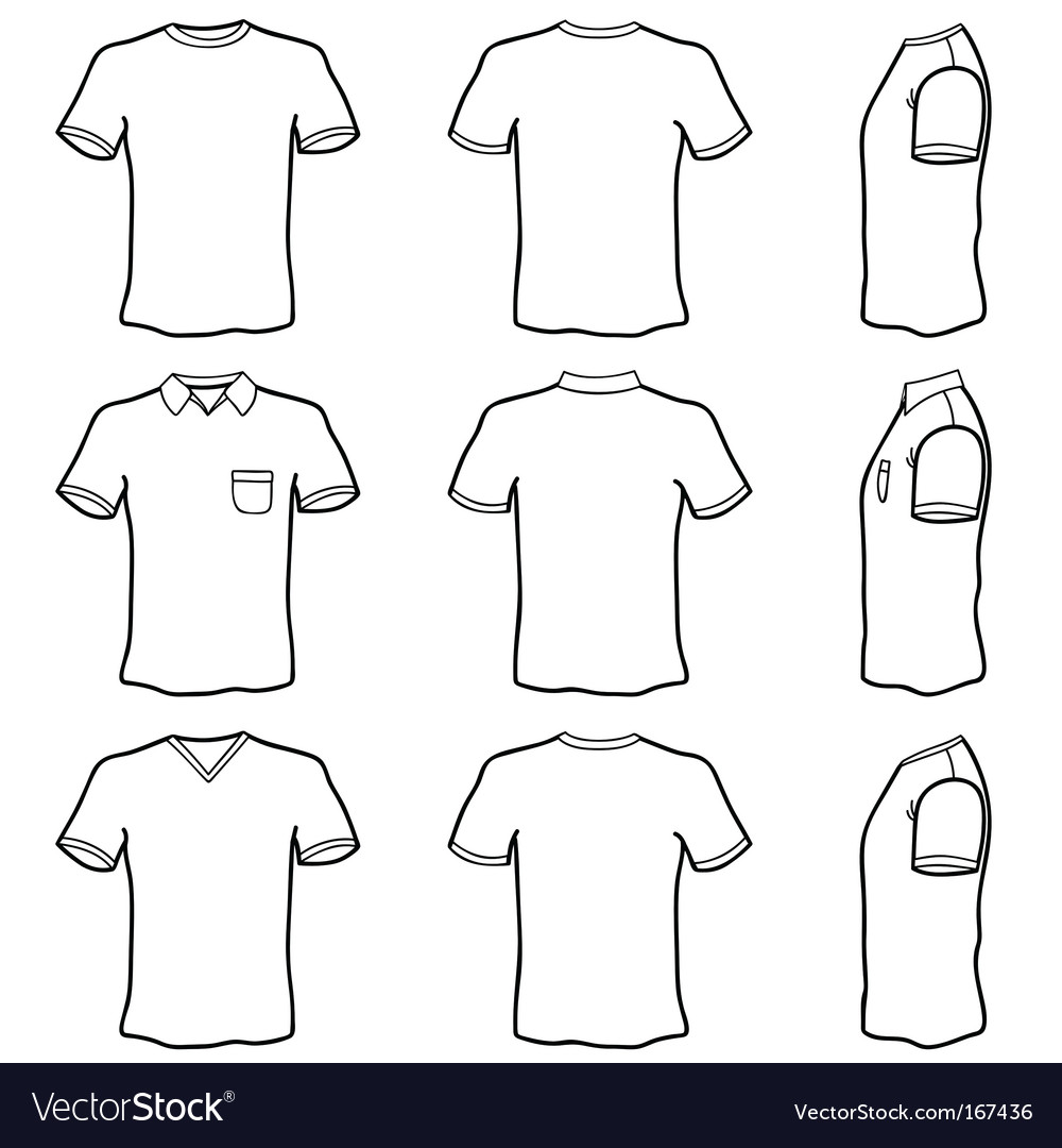 T Shirt Outlines Royalty Free Vector Image Vectorstock T shirt design template shirt print design shirt designs blank t shirts printed shirts you get: vectorstock