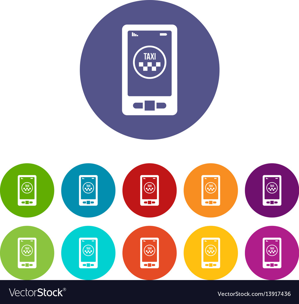 Taxi app in phone set icons vector image