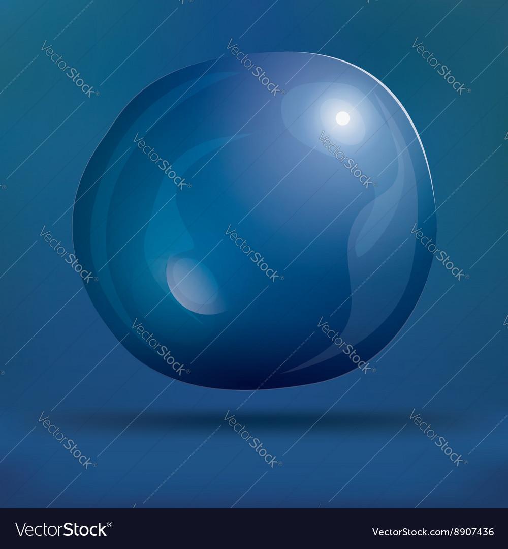 Transparent Soap Bubble on Blue Background
