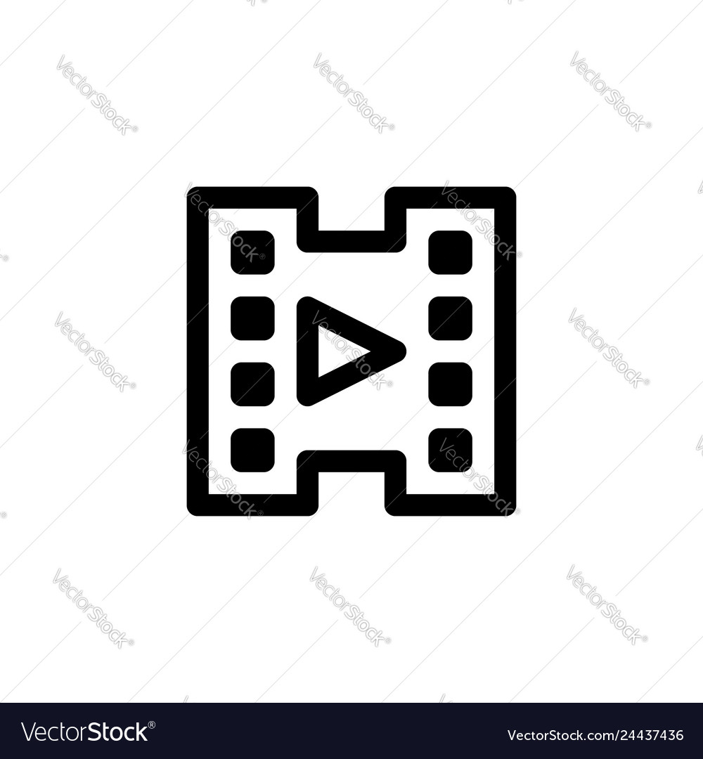 Video player icon with line style