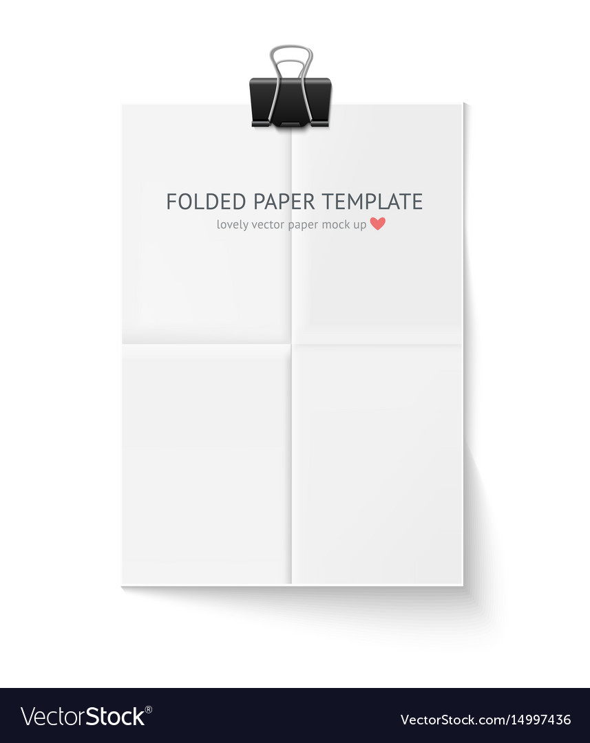 White sheet of paper folded in four hangs with