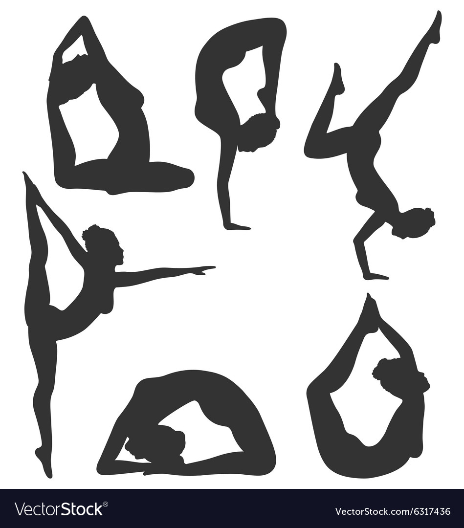 Woman in yoga poses asanas set black isolated on vector image
