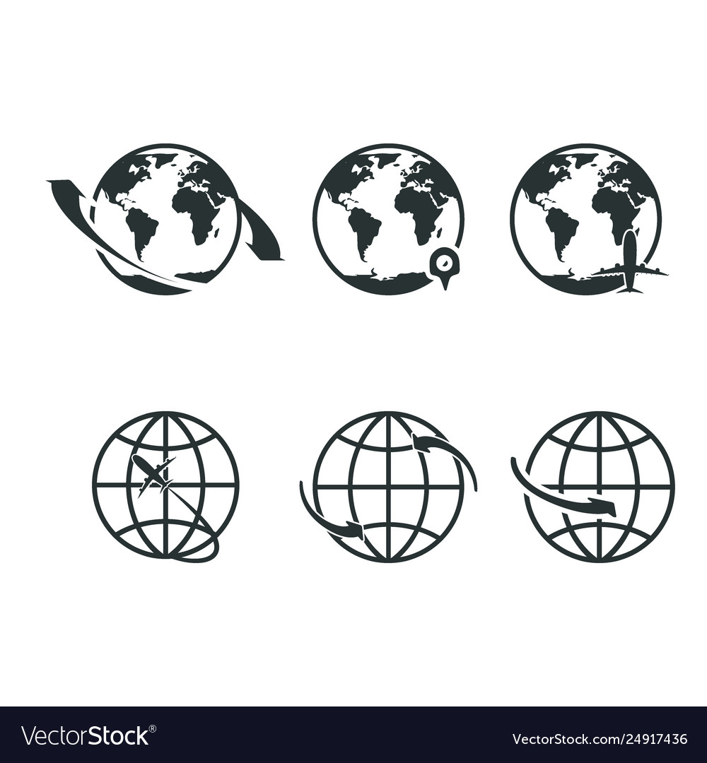 World icons set earth globe map for internet or