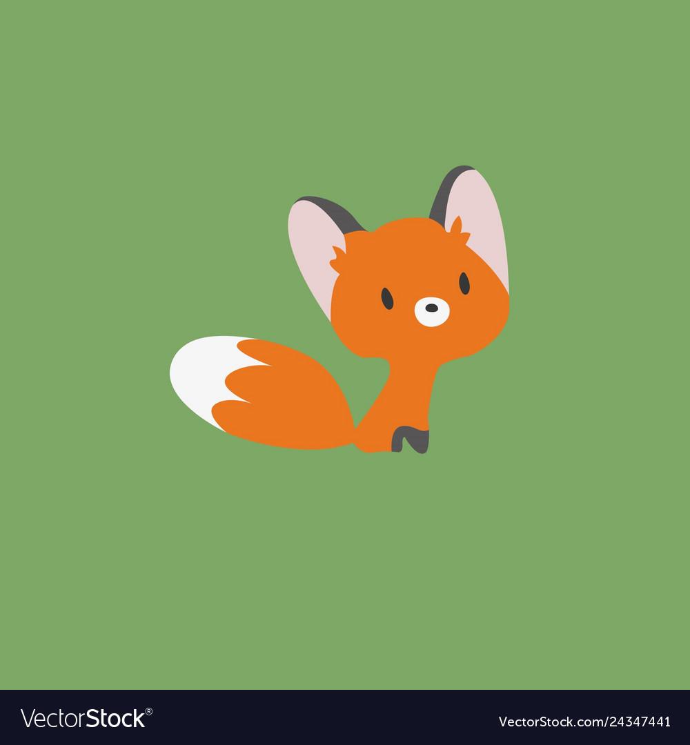 A little fox on a green bac