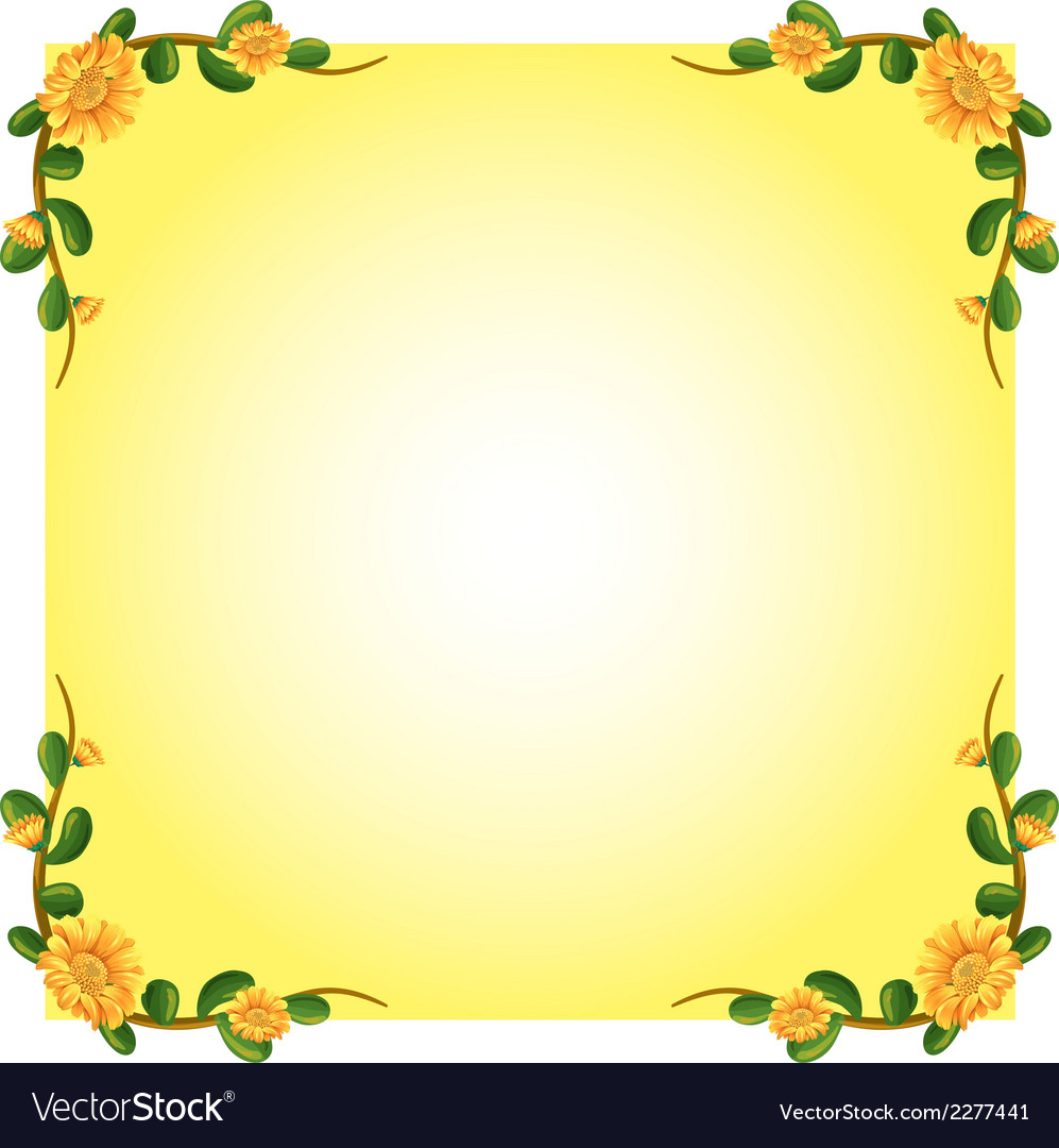 An empty template with a flowering plant border vector image