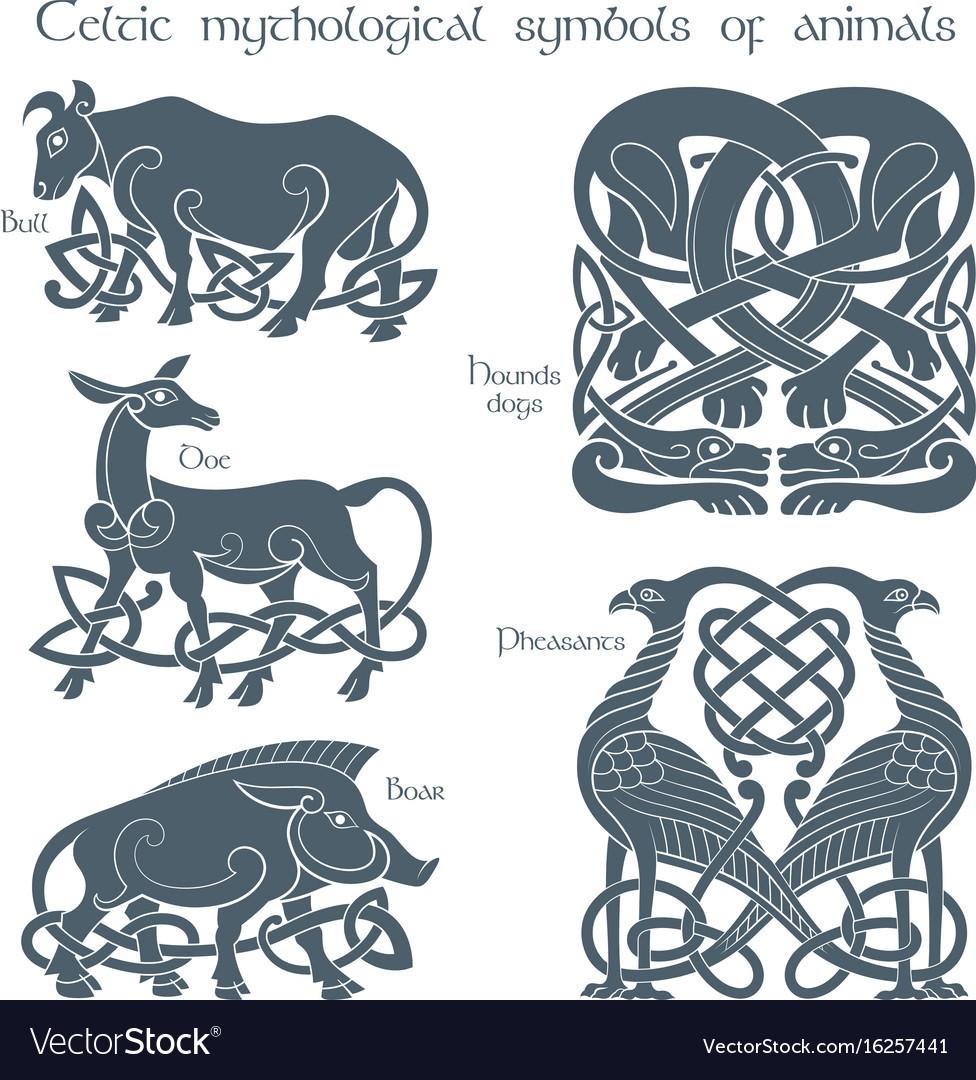 Ancient celtic mythological symbol animals set vector image