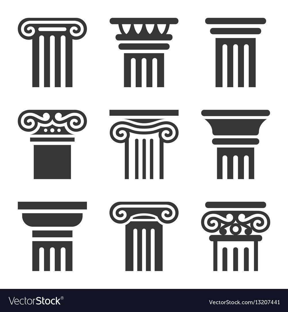 Ancient columns icon set