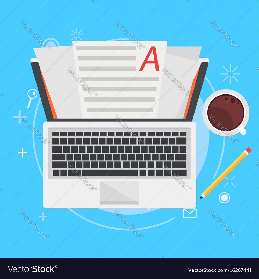 Banner copywriting computer with papers