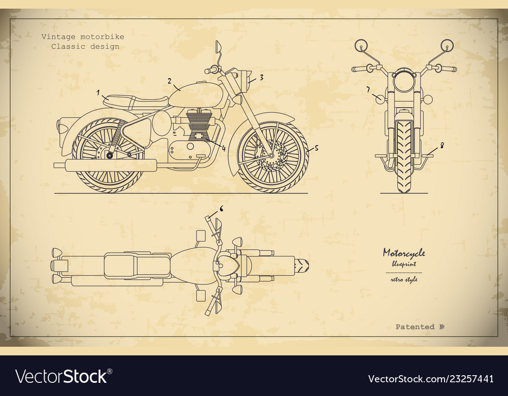 Blueprint of retro motorcycle in outline style