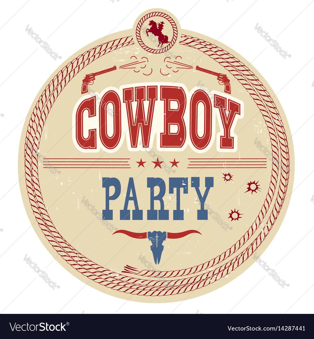 Cowboy party western label vintage card