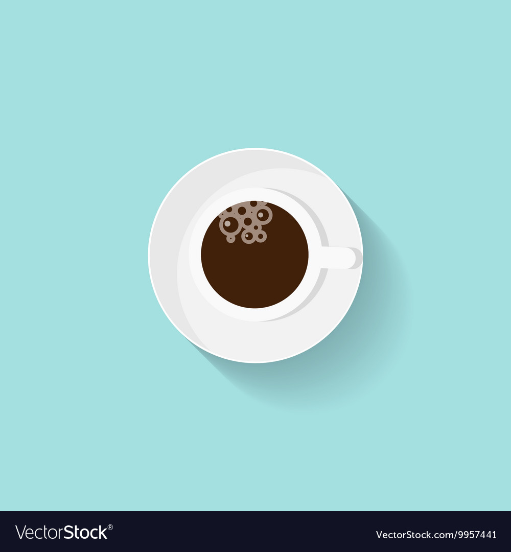 Cup of coffee in a flat style Morning drink