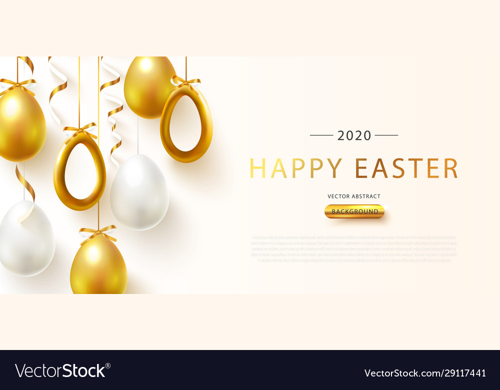 Happy easter poster with realistic golden shine