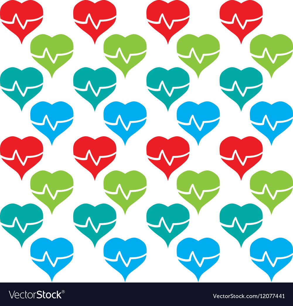 Heart rate colored design seamless pattern