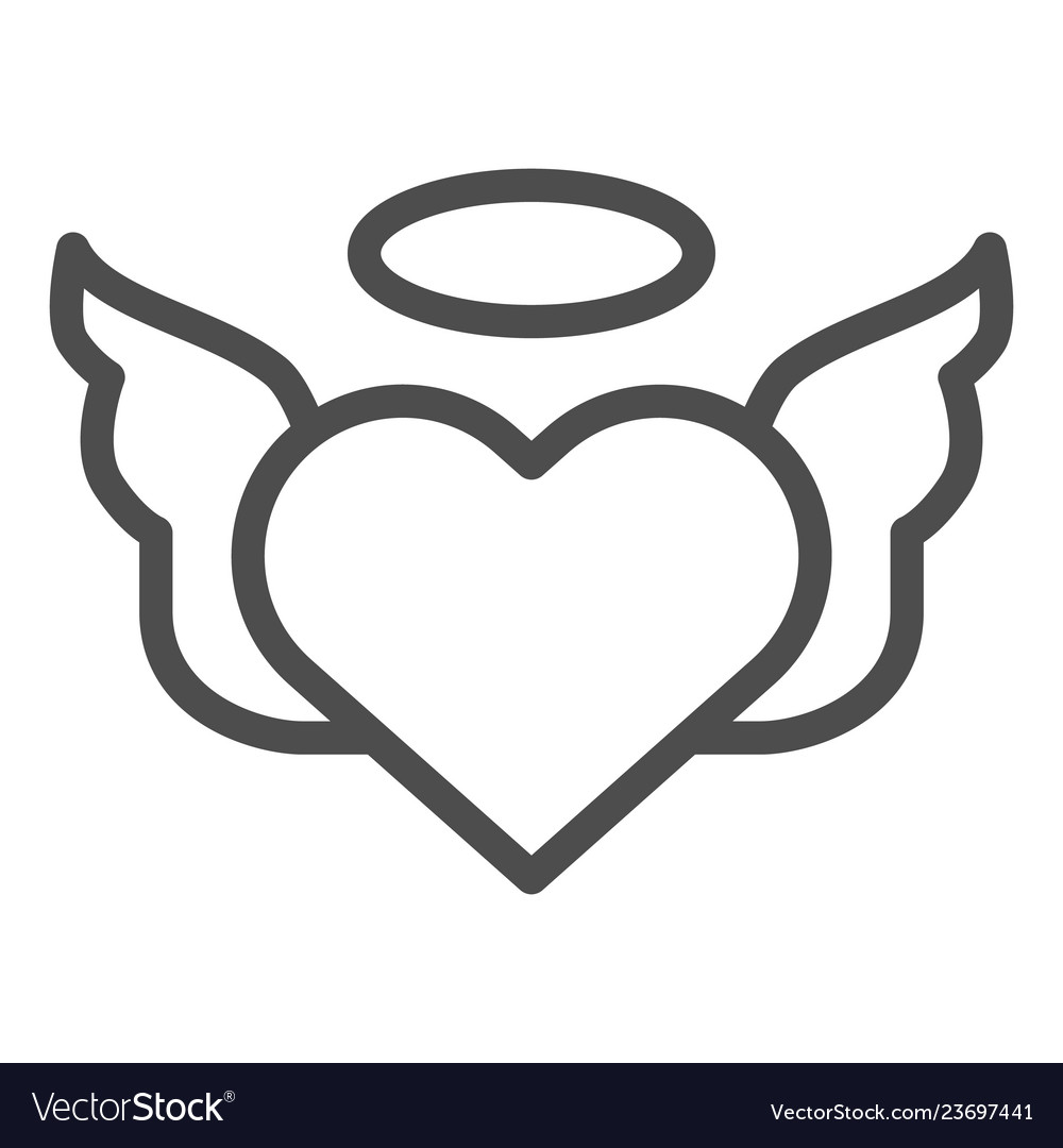 Heart with pair of wings line icon valentines