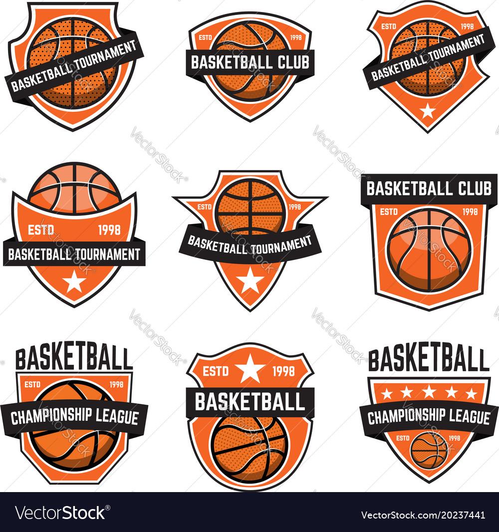 Set basketball sport emblems design element