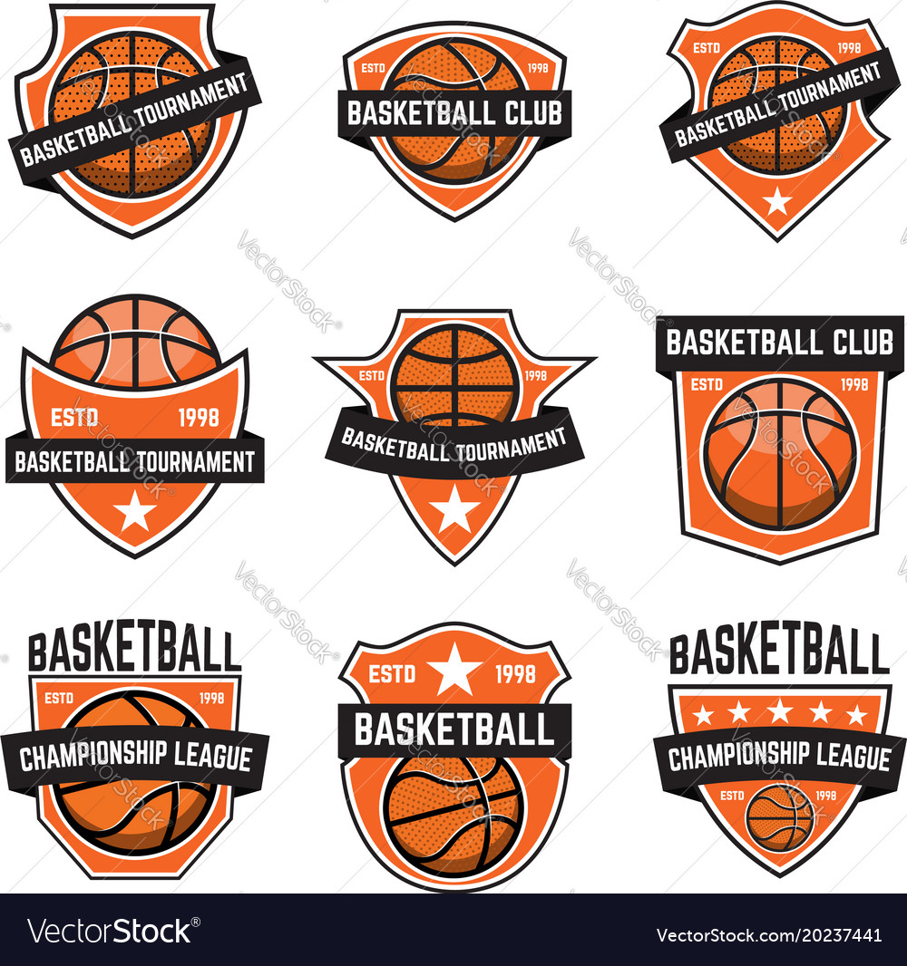 Set of basketball sport emblems design element