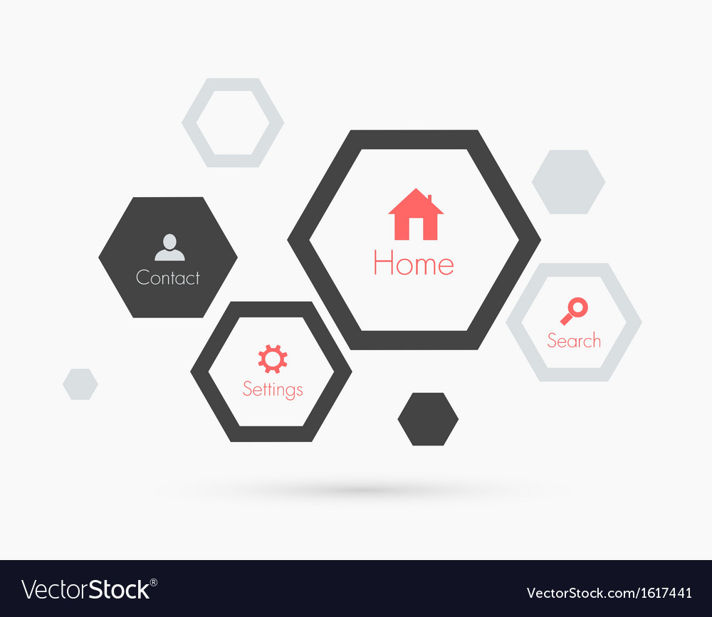 Site template with hexagons Flat design