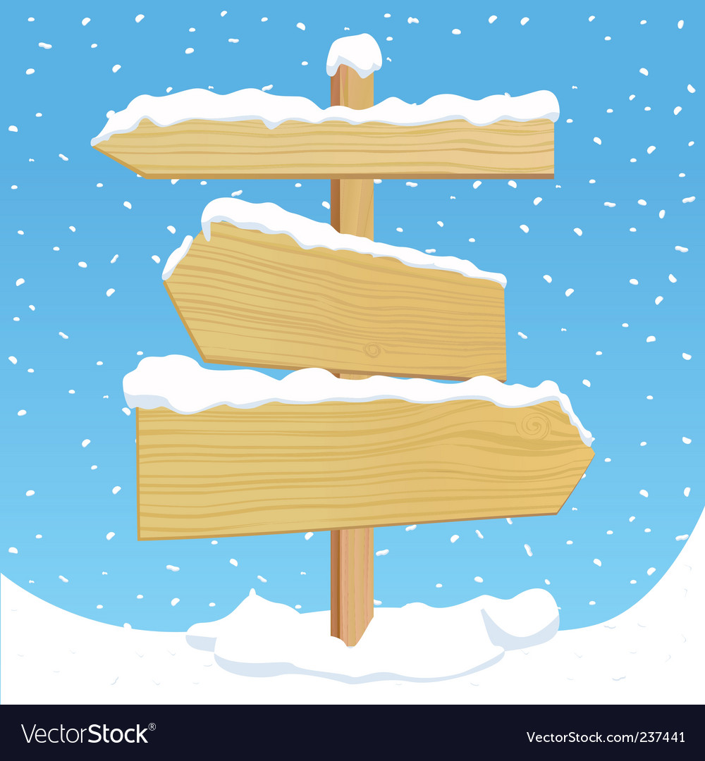 Wooden sign with snow effect vector image