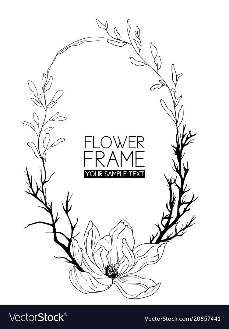 Wreath magnolia flower drawing and sketch with