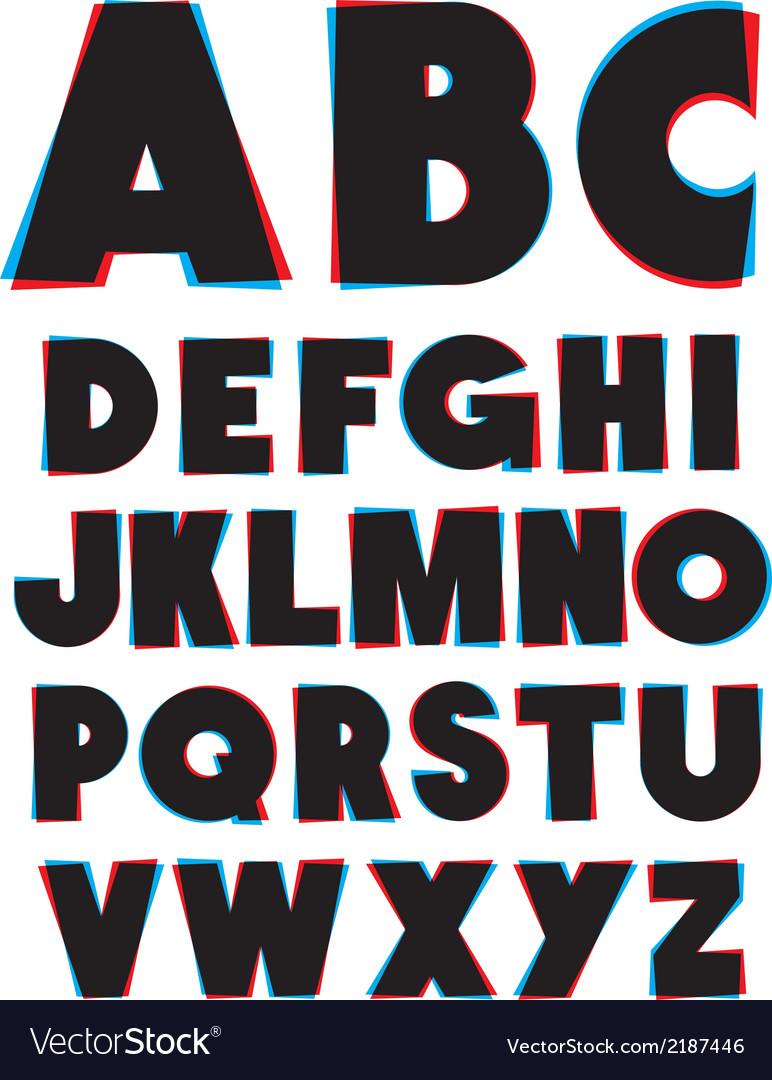 3d glasses effect alphabet font type alphabet