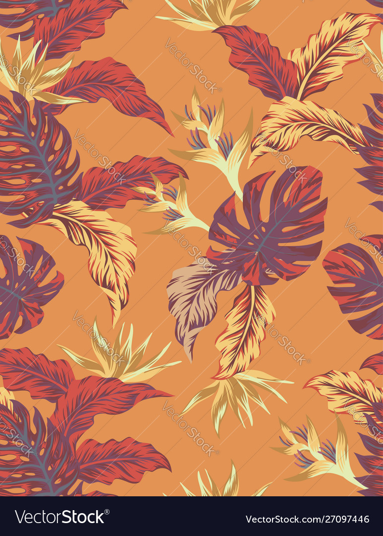 Autumn orange jungle seamless pattern