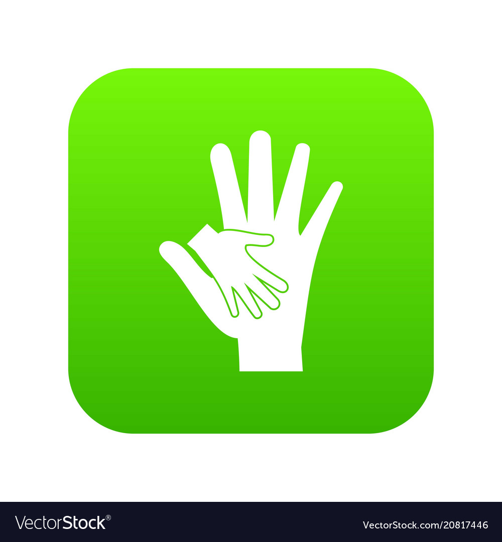 Baby and mother hand icon digital green