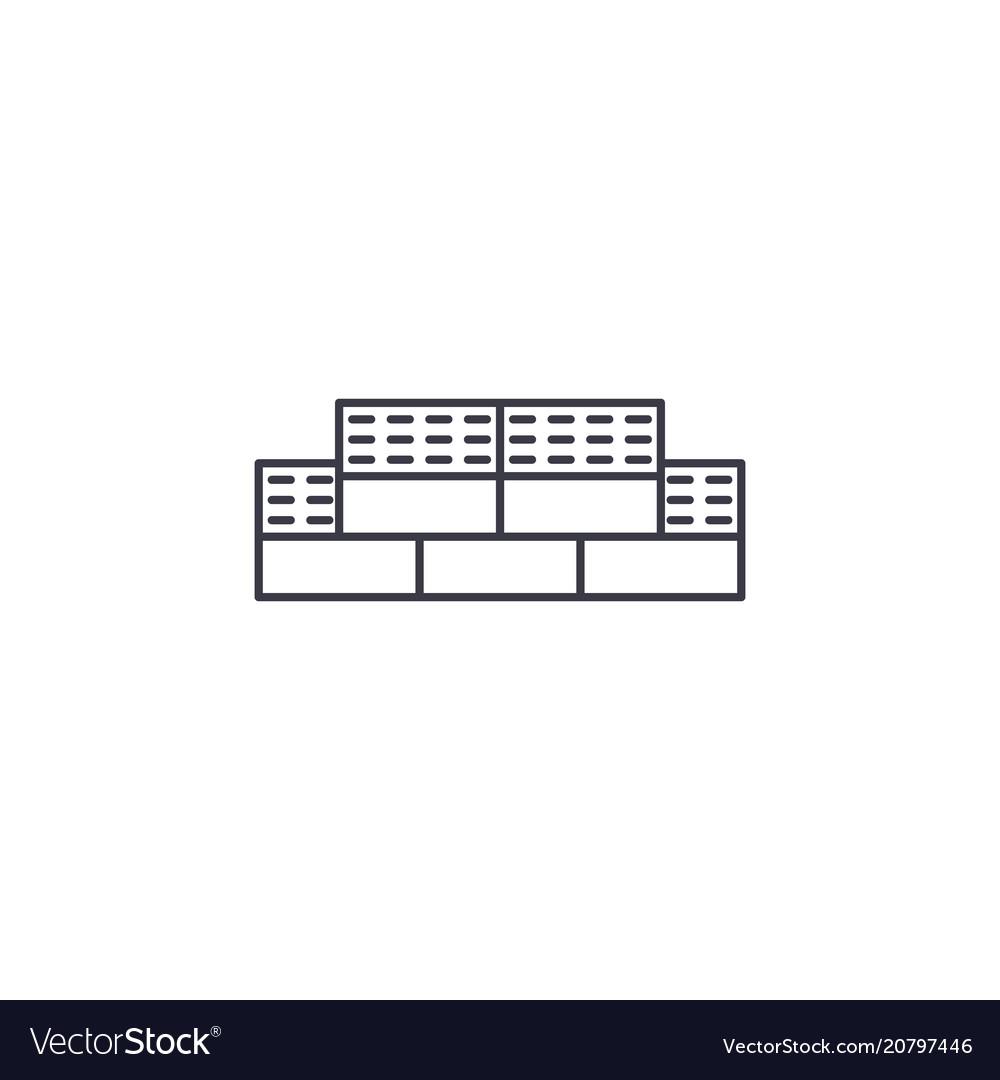 Bricks line icon sign on vector image
