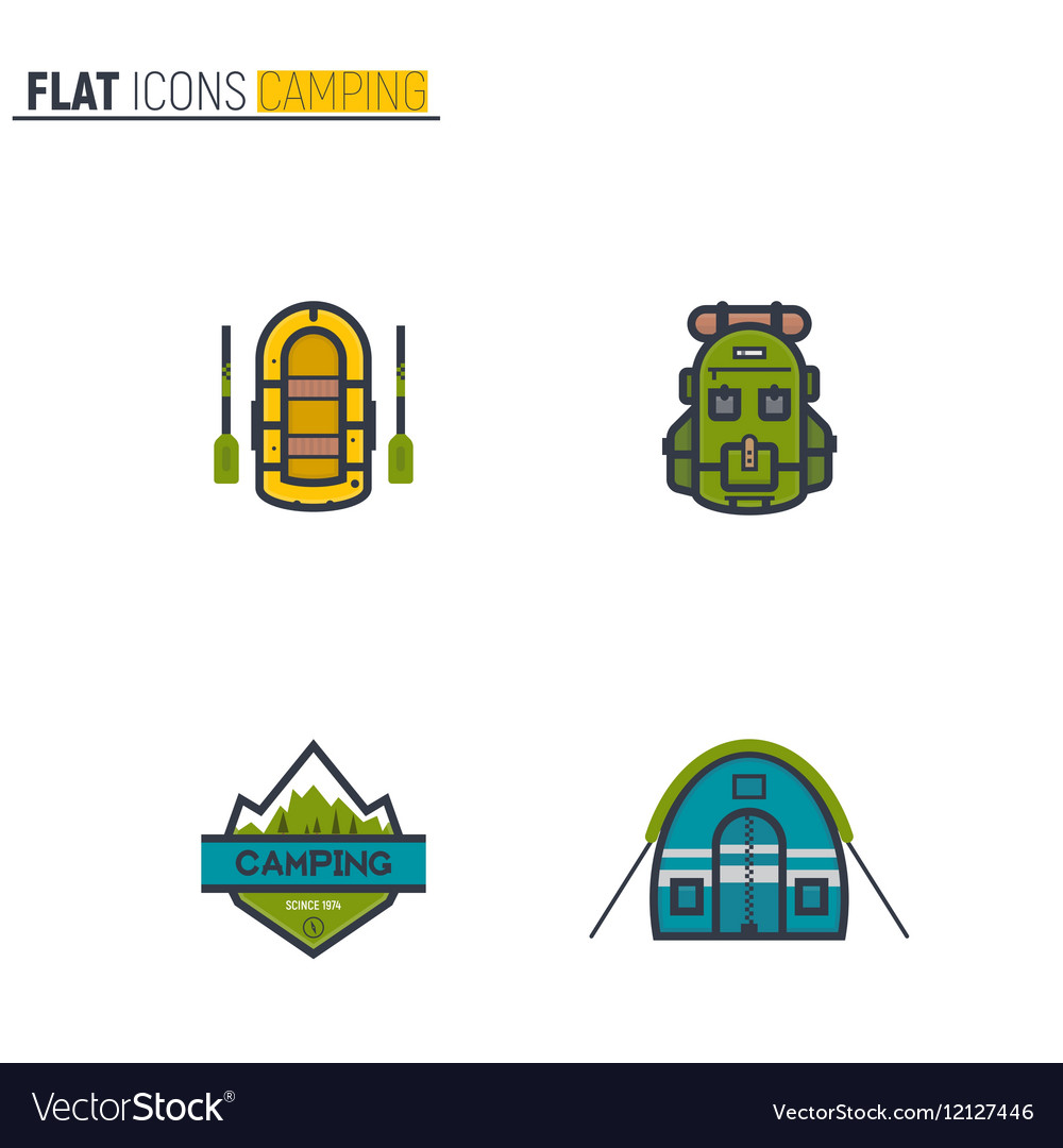 Camping flat line icons