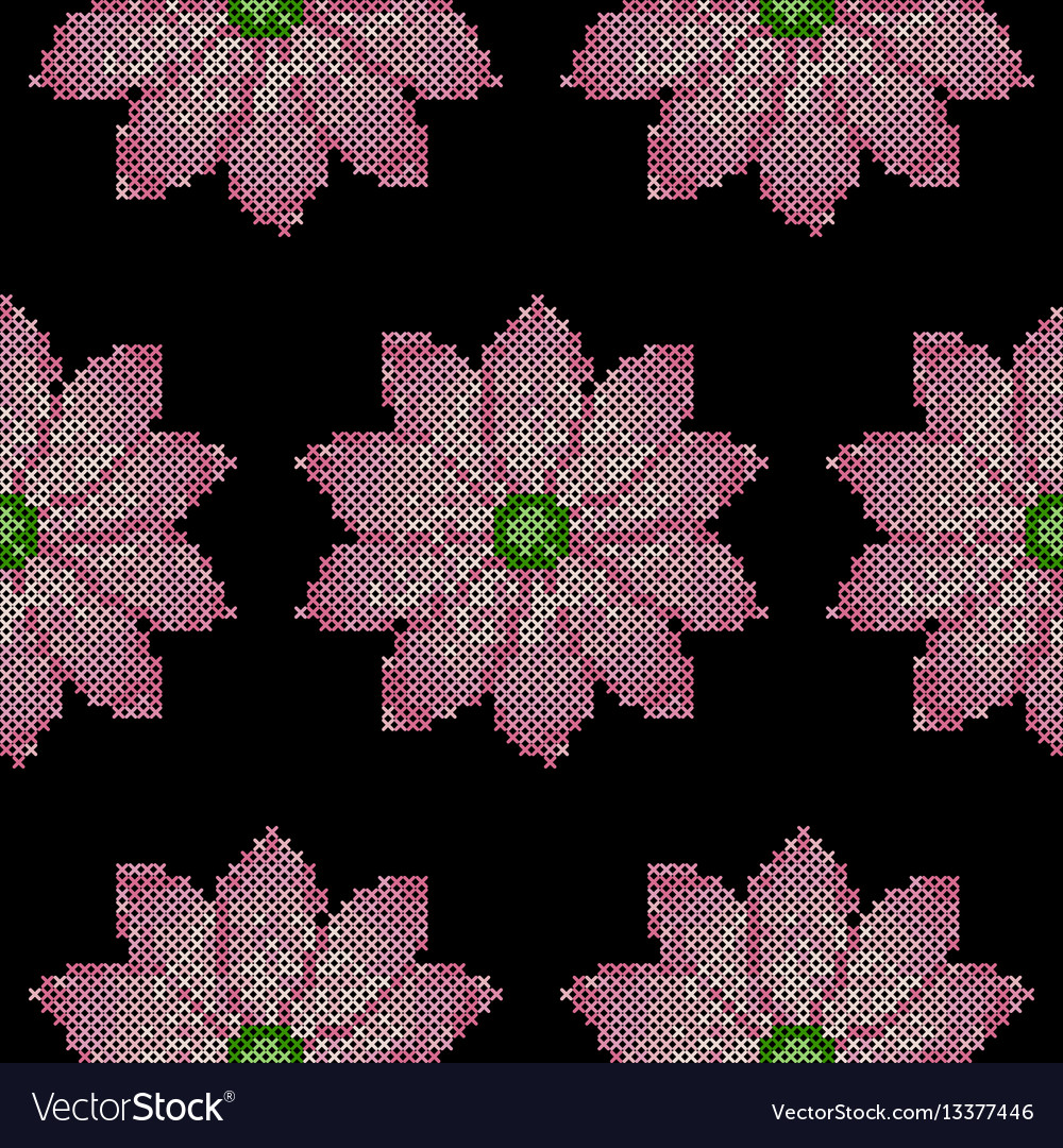 Cross stitch lotus seamless pattern