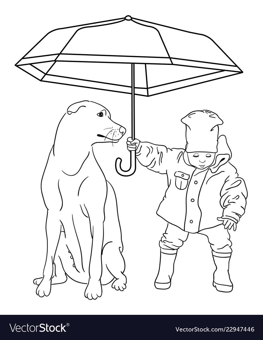 Cute dog line art