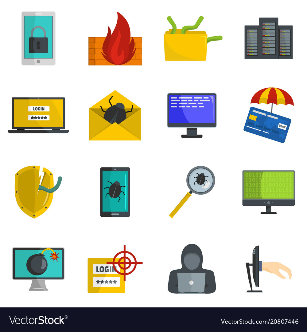 Cyber attack computer virus icons set