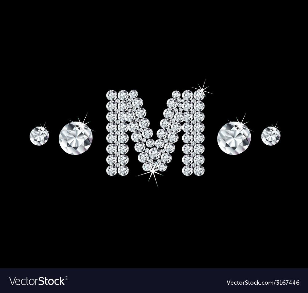 Diamond alphabetic letter M vector image