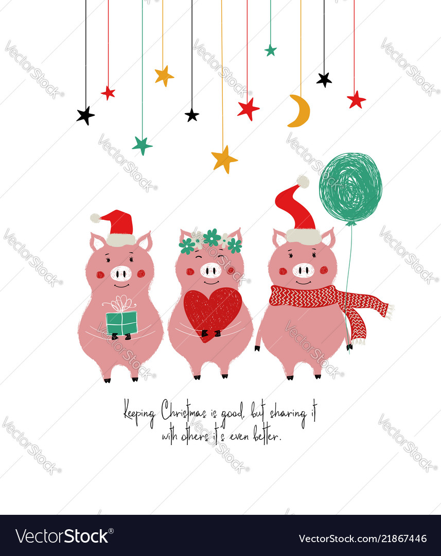 Funny Christmas Images.Funny Christmas Card With Cute Pigs
