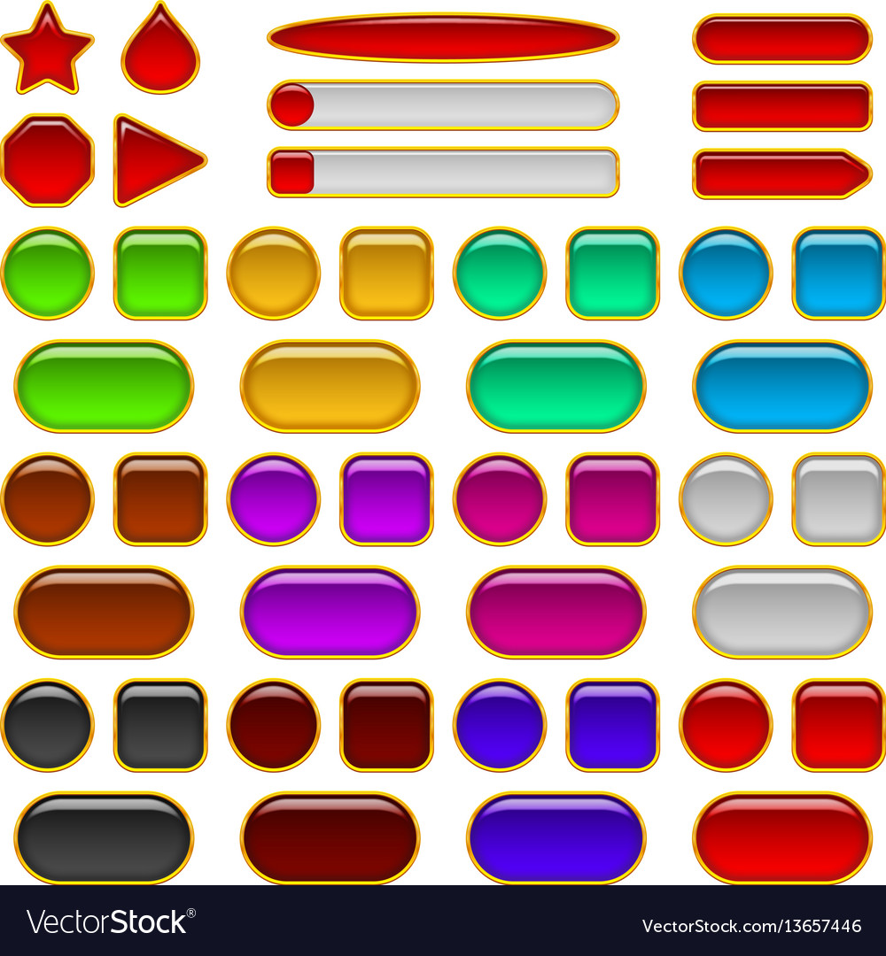 Glass buttons of various colors set