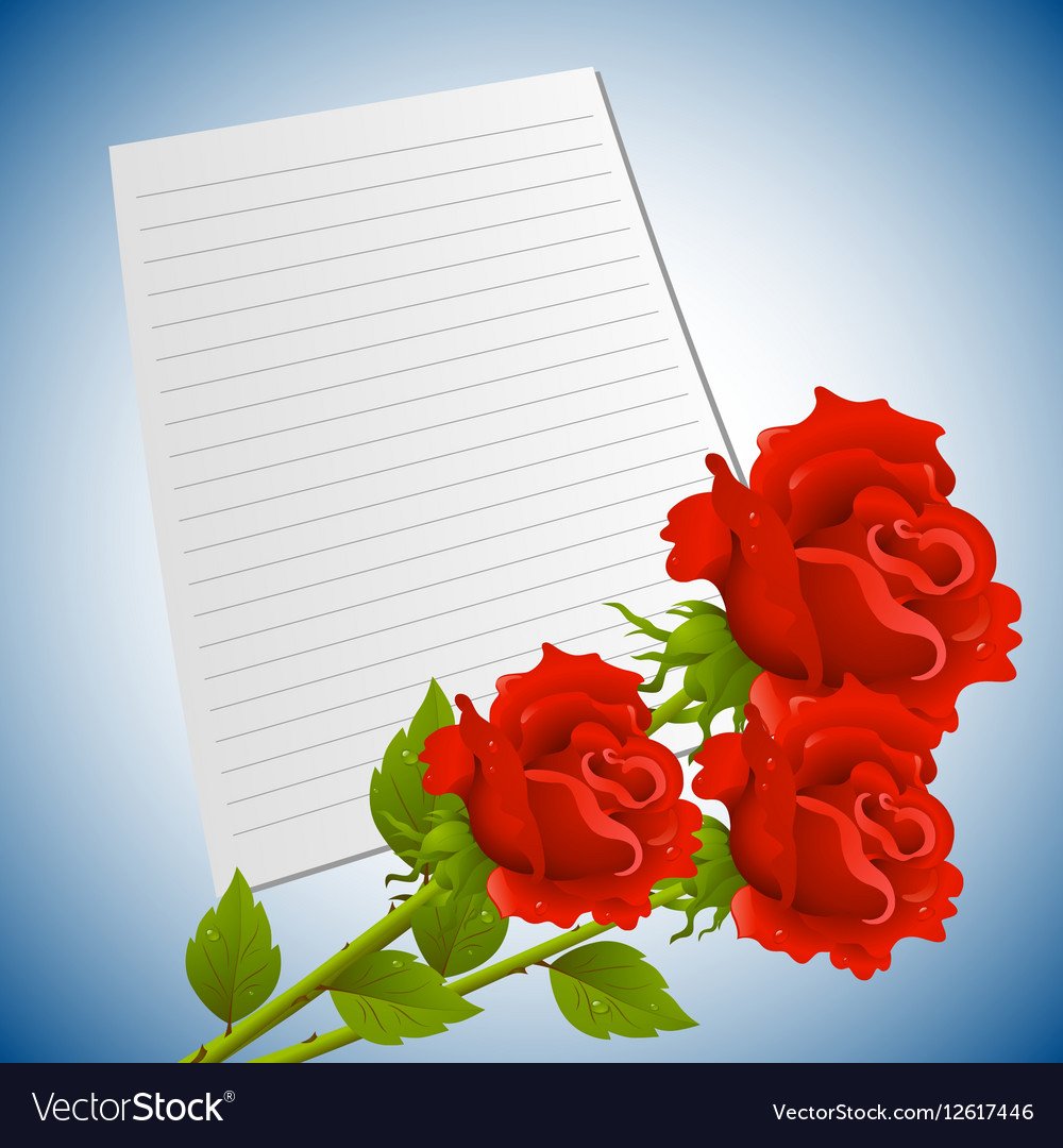Greeting or invitation card with bouquet of red