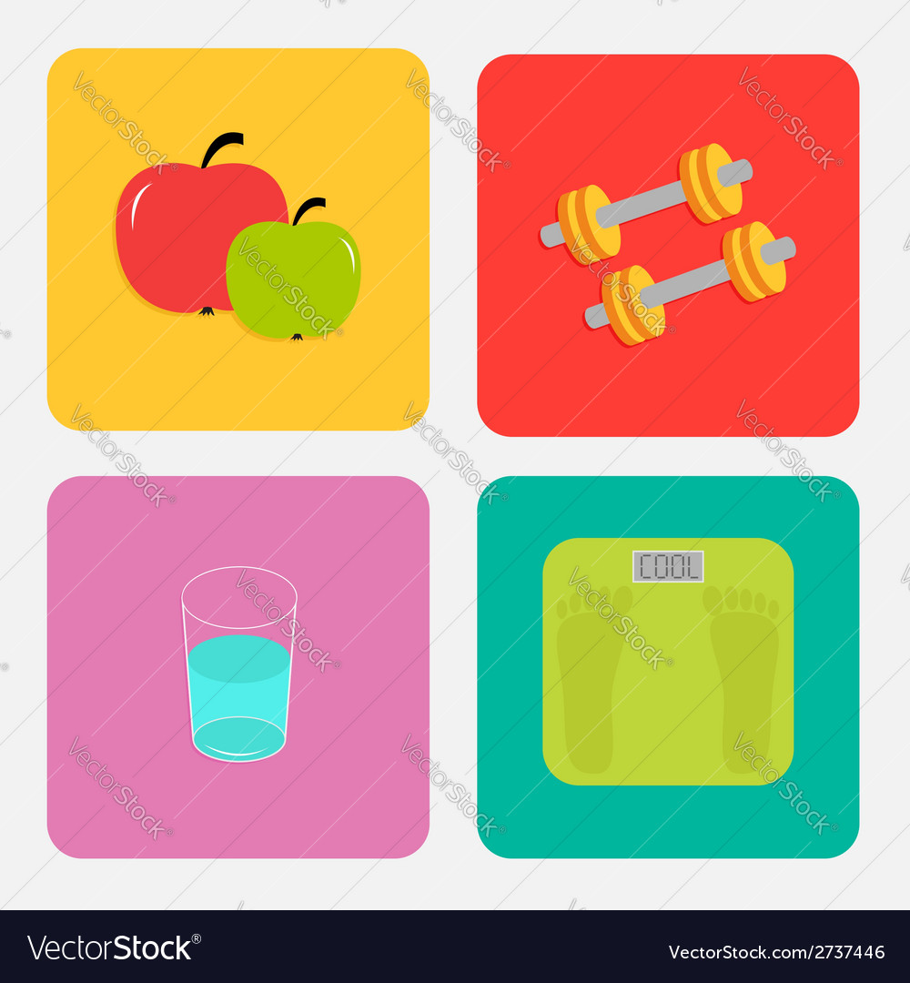 Healthy life style icon set Apple dumbbells water