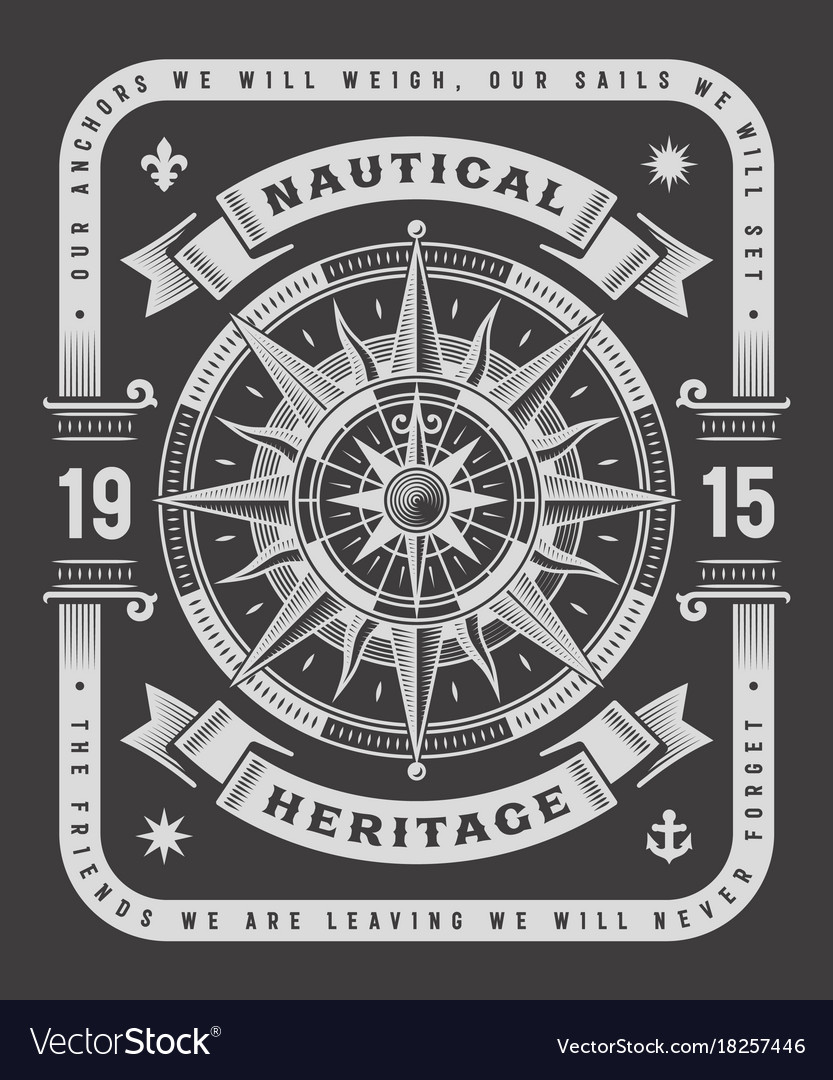 Nautical heritage typography on black background