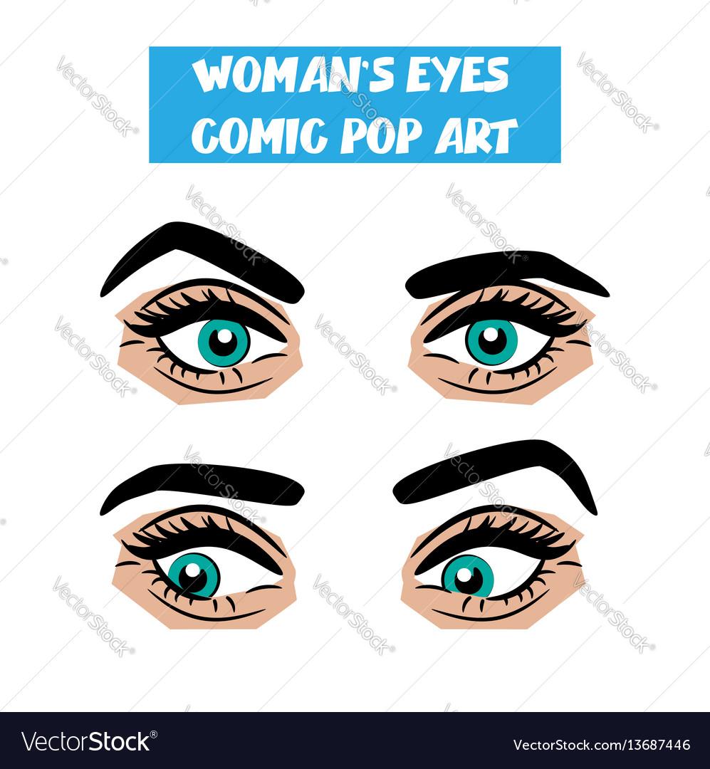 Pop art cartoon comic stare woman eyes