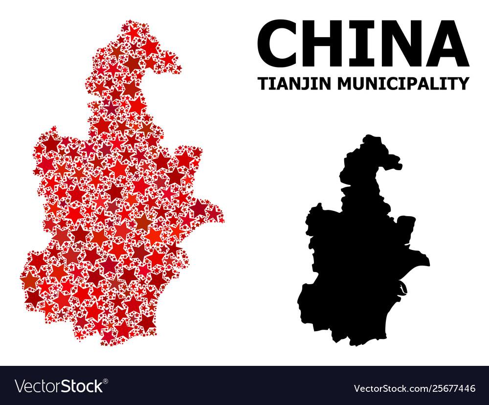Red Starred Mosaic Map Tianjin Municipality