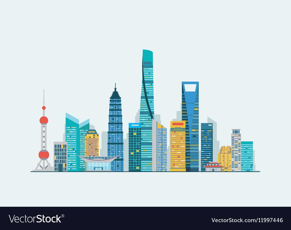 Shanghai abstract skyline vector image