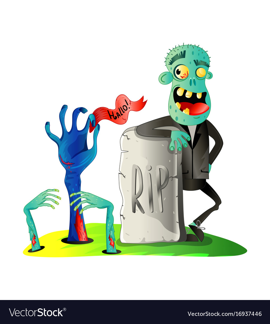 Smiling zombie monster on graveyard