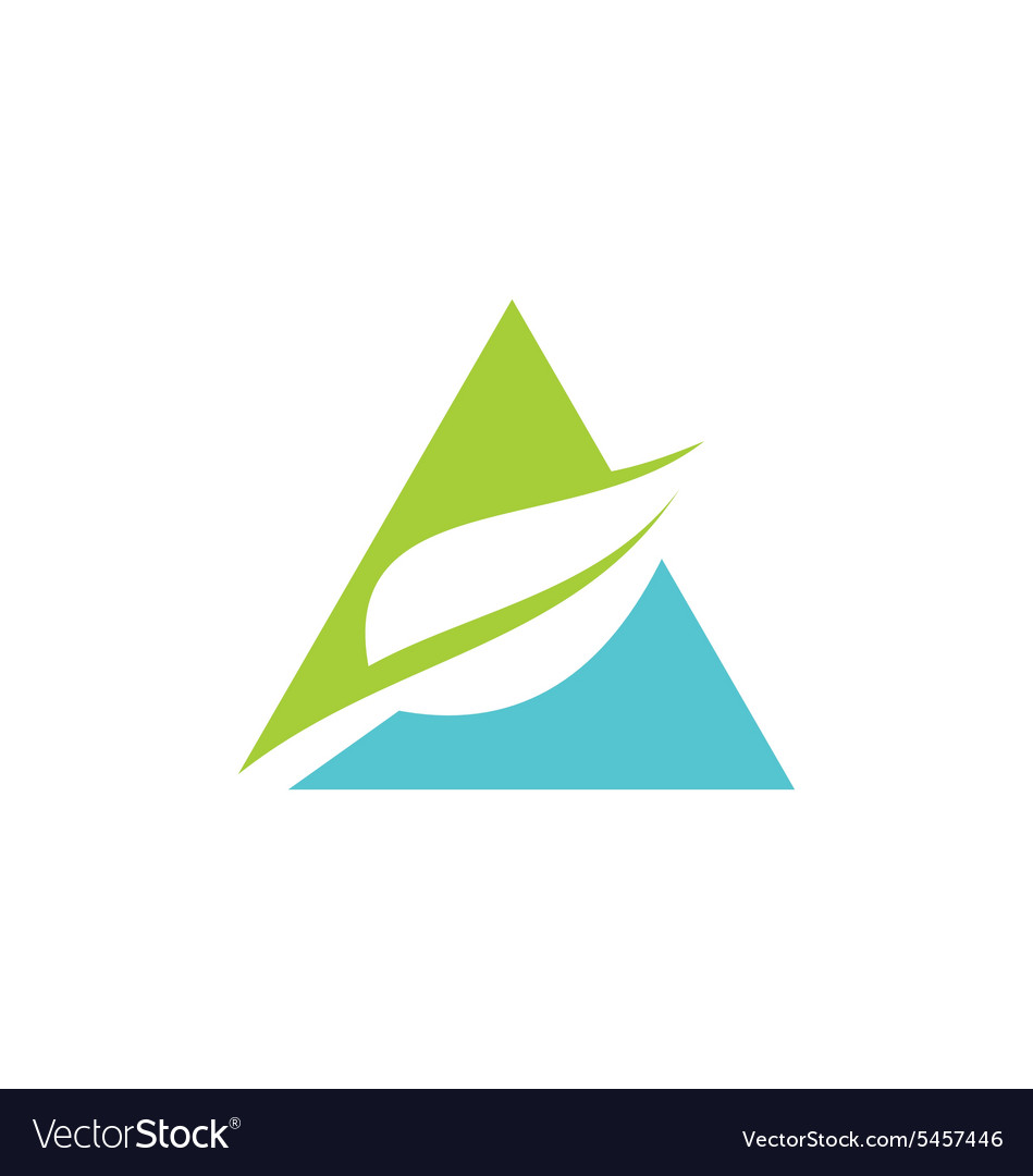 triangle green leaf pyramid logo royalty free vector image